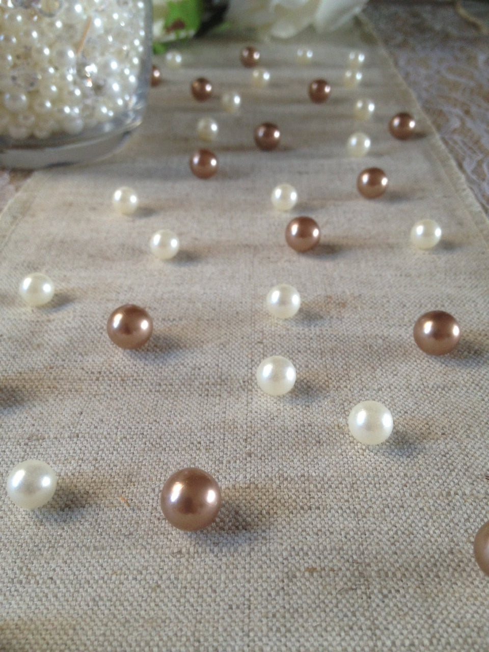 Vintage Table Pearl Scatters Copper Brown And Ivory  Pearls For Wedding, Parties, Special Events Decor Table Confetti