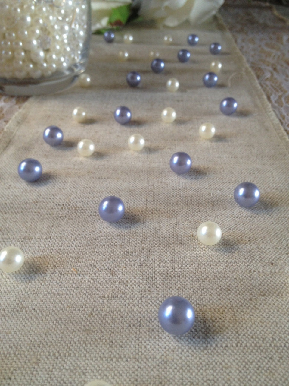 Vintage Table Pearl Scatters Lavendar and Ivory Pearls For Wedding, Parties, Special Events Decor Table Confetti