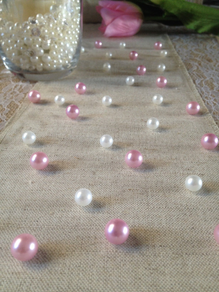 Vintage Table Pearl Scatters Light Pink And White Pearls For Baby Shower, Bridal Shower And Wedding, Parties, Special Events Decor Table Confetti