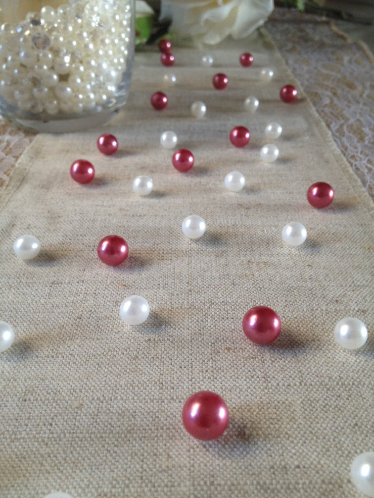 Vintage Table Pearl Scatters Mauve Pink And White Pearls For Wedding, Parties, Special Events Decor Table Confetti