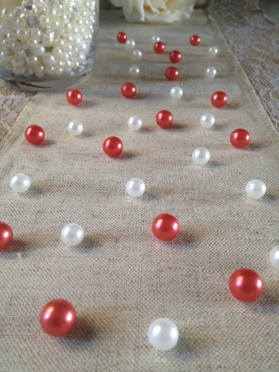 Vintage Table Pearl Scatters Red And White Pearls For Wedding, Parties, Special Events Decor Table Confetti