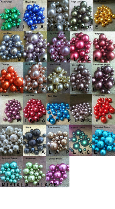 80pc Decorative Pearls Mix Size -Over 30 Colors -For Floating Pearl Centerpieces, Vase Fillers, Special Events, Weddings