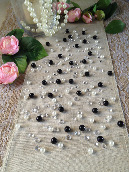 Diamonds & Pearls Vintage Table Scatters Black Pearls, For Wedding, Parties, Perfect for wine glass fillers, mason jars.