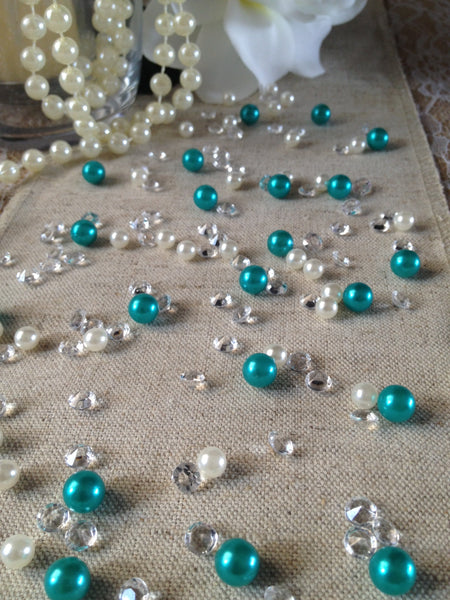 Emerald Green Pearls & Diamond Vintage Table Scatters For Wedding, Parties, Perfect for wine glass fillers, mason jars.