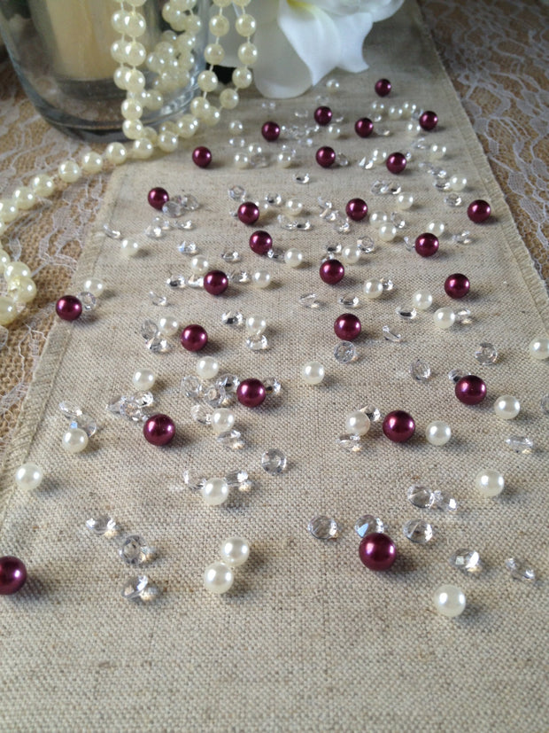 Diamonds & Pearls Vintage Table Scatters Burgundy Pearls, For Wedding, Parties, Perfect for wine glass fillers, mason jars.