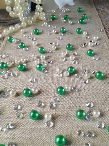 250pc Vintage Green Pearls & Diamond Table Scatters For Wedding, Parties, Perfect for wine glass fillers, mason jars.