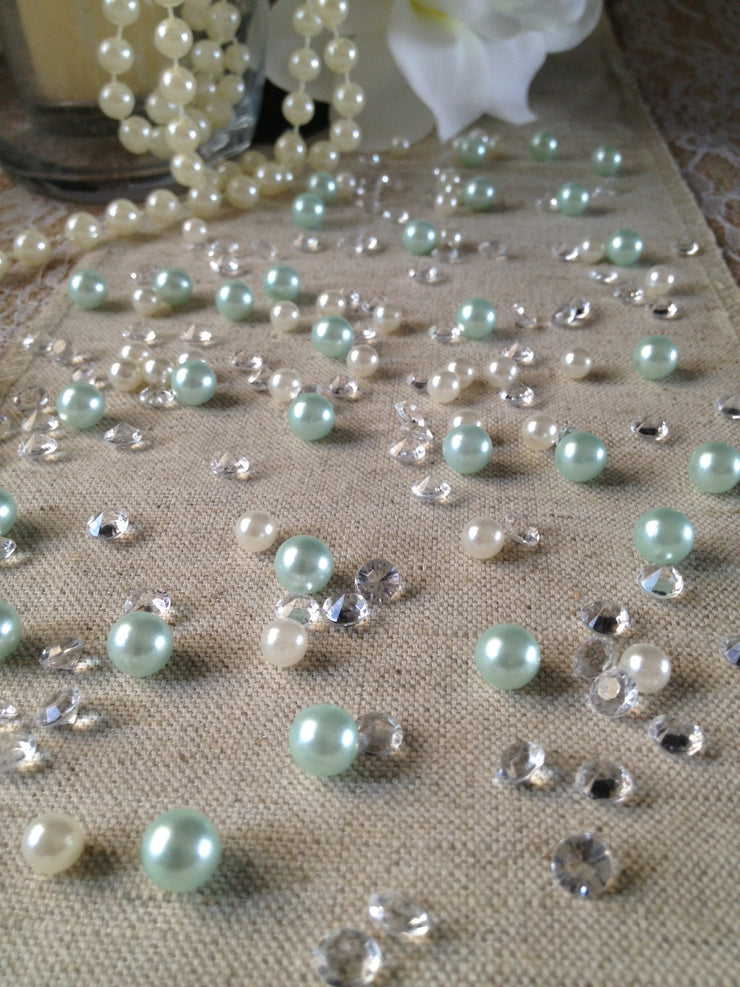 250pc Vintage Light Blue Pearls & Diamond Table Scatters For Wedding, Parties, Perfect for wine glass fillers, mason jars.