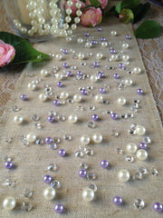 Lilac Pearl Table Scatters, Diamond Scatters For Wedding, Parties, Perfect for wine glass fillers, mason jars.
