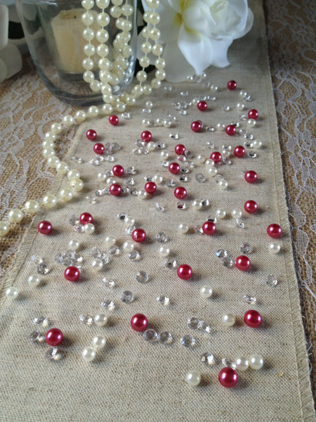 Diamonds & Pearls Vintage Table Scatters Mauve Pink Pearls, For Wedding, Parties, Perfect for wine glass fillers, mason jars.