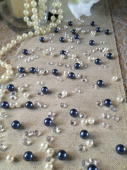 Navy Blue Pearls & Diamond Vintage Table Scatters For Wedding, Parties, Perfect for wine glass fillers, mason jars.