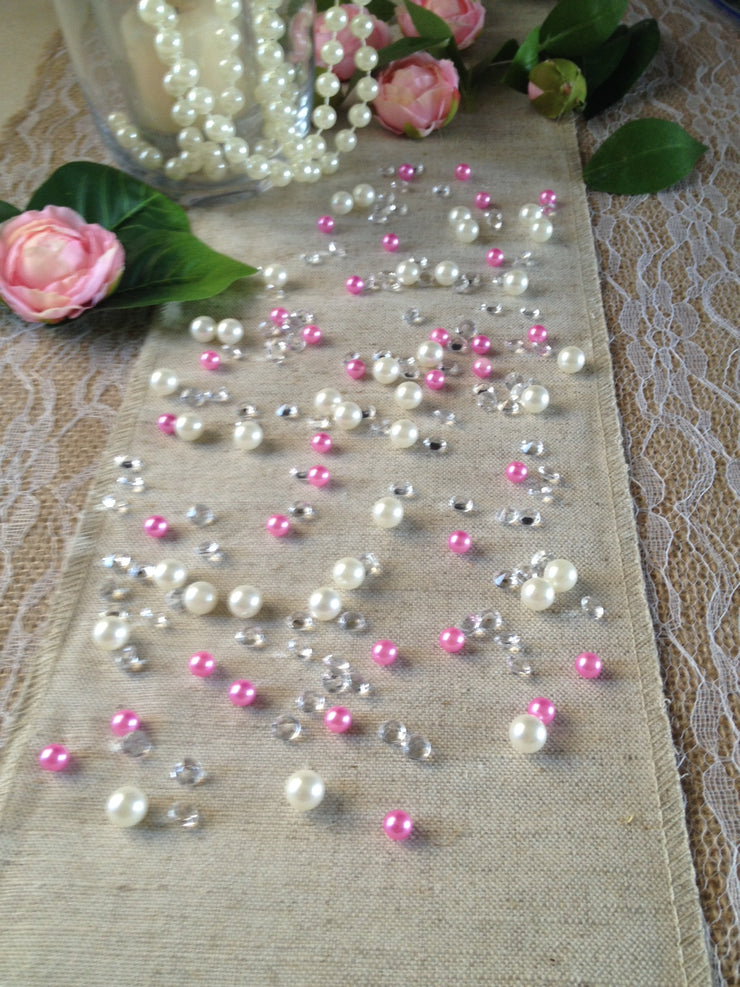 Pink Pearl Table Scatters, Diamond Scatters For Wedding, Parties, Perfect for wine glass fillers, mason jars.