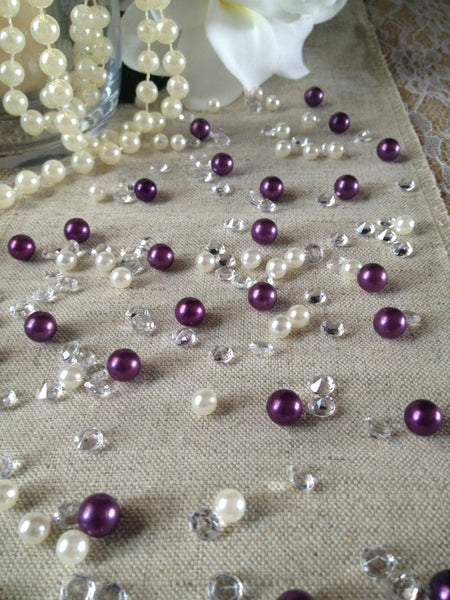 250pc Vintage Purple Pearls & Diamond Table Scatters For Wedding, Parties, Perfect for wine glass fillers, mason jars.