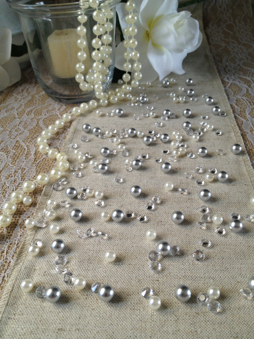 250pc Vintage Silver Pearls & Diamond Table Scatters For Wedding, Parties, Perfect for wine glass fillers, mason jars.