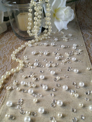 250pc Vintage White Pearls & Diamond Table Scatters For Wedding, Parties, Perfect for wine glass fillers, mason jars.