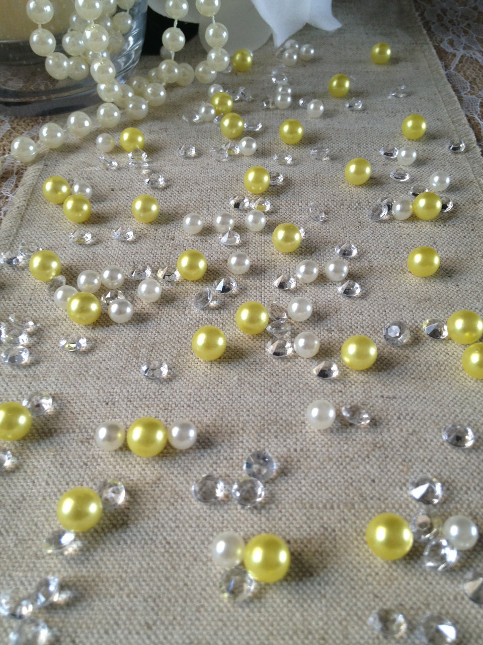250pc Vintage Yellow Pearls & Diamond Table Scatters For Wedding, Parties, Perfect for wine glass fillers, mason jars.