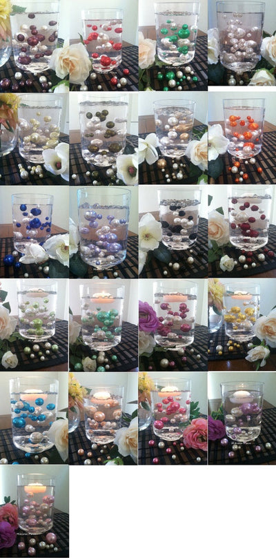 80pc Pearls For Floating Pearl Centerpieces Available in 2 color combo, Choose from 30 different colors