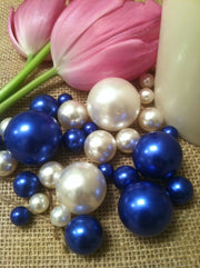 Royal Blue/White Floating Pearls Centerpiece, Vase Fillers, Table Scatters