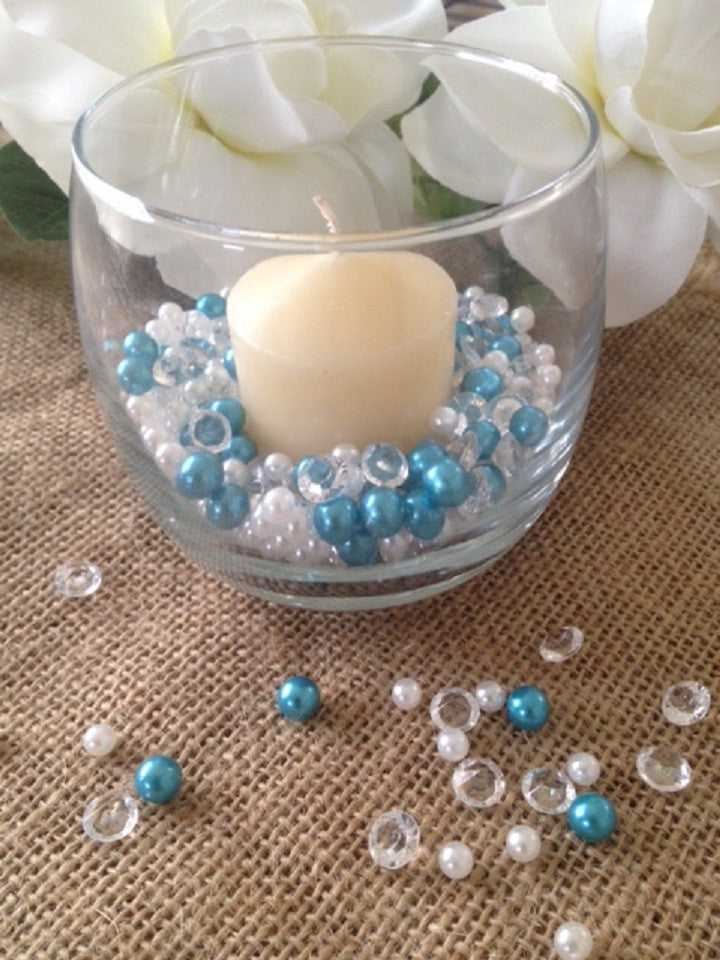 500pcs Pearls & Diamonds Teal Blue, White Pearls For Candle Fillers, Table Scatters