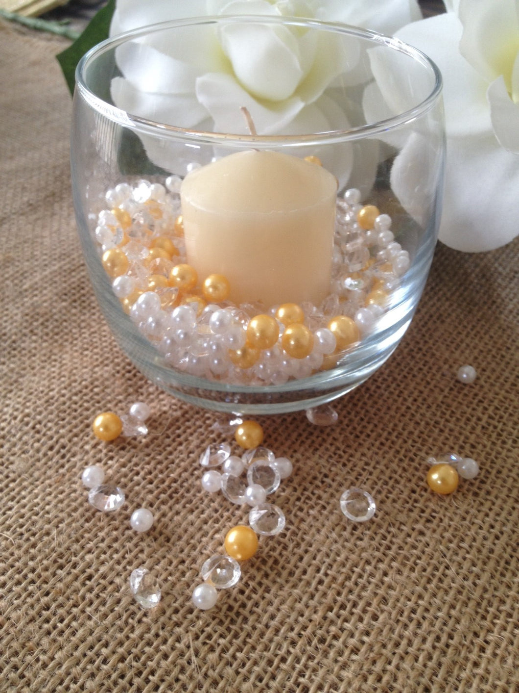 500pcs Pearls & Diamonds Gold, White Pearls For Candle Fillers, Table Scatters