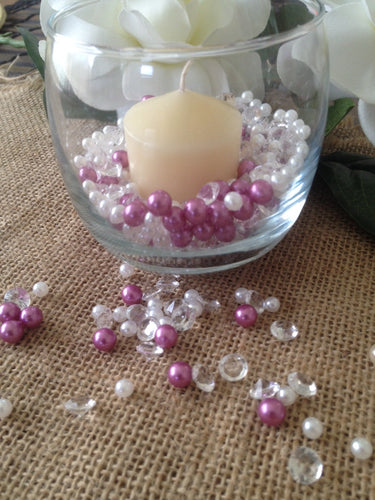 500pcs Pearls & Diamonds Orchid Purple, Ivory Pearls For Candle Fillers, Table Scatters