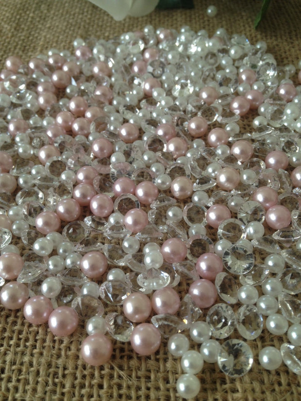 500pcs Pearls & Diamonds Pink and White Pearls For Candle Fillers, Table Scatters