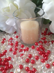 500pcs Pearls & Diamonds Red and White Pearls For Candle Fillers, Table Scatters