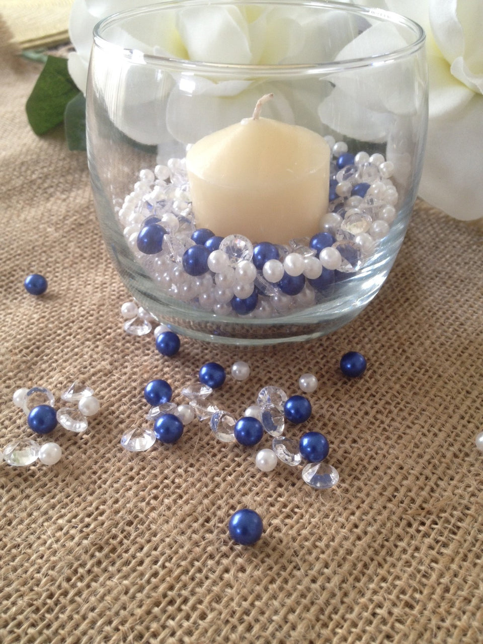 Diamonds & Pearls Royal Blue and White For Candle/Votive Fillers (500pc Mix)