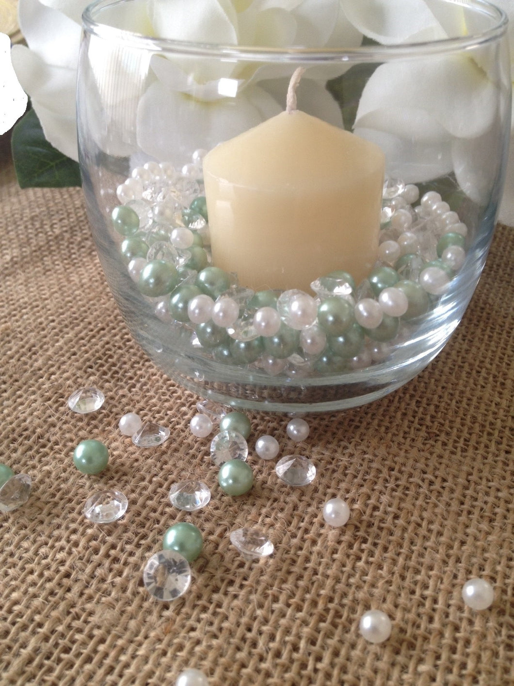 500pcs Pearls & Diamonds Seafoam Green and White Pearls For Candle Fillers, Table Scatters