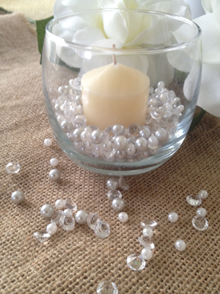 500pcs Pearls & Diamonds Silver and White Pearls For Candle Fillers, Table Scatters