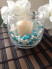 500pcs Pearls & Diamonds Turquoise Green and White Pearls For Candle Fillers, Table Scatters