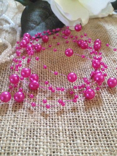 8mm & 3mm Magenta Pink Pearl Bead Garland -Wedding Decoration, Special Events, Trims Available in: 1yd/3yd/5yd/10yd/1roll