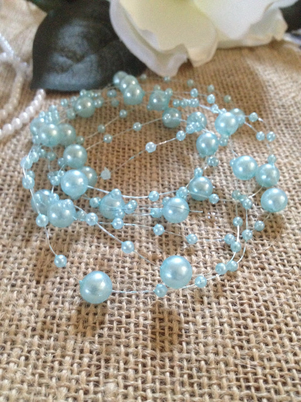 8mm & 3mm Baby Blue Pearl Beads Garland -Wedding Decoration, Special Events, Trims. Available in: 1yd/3yd/5yd/10yd/1roll