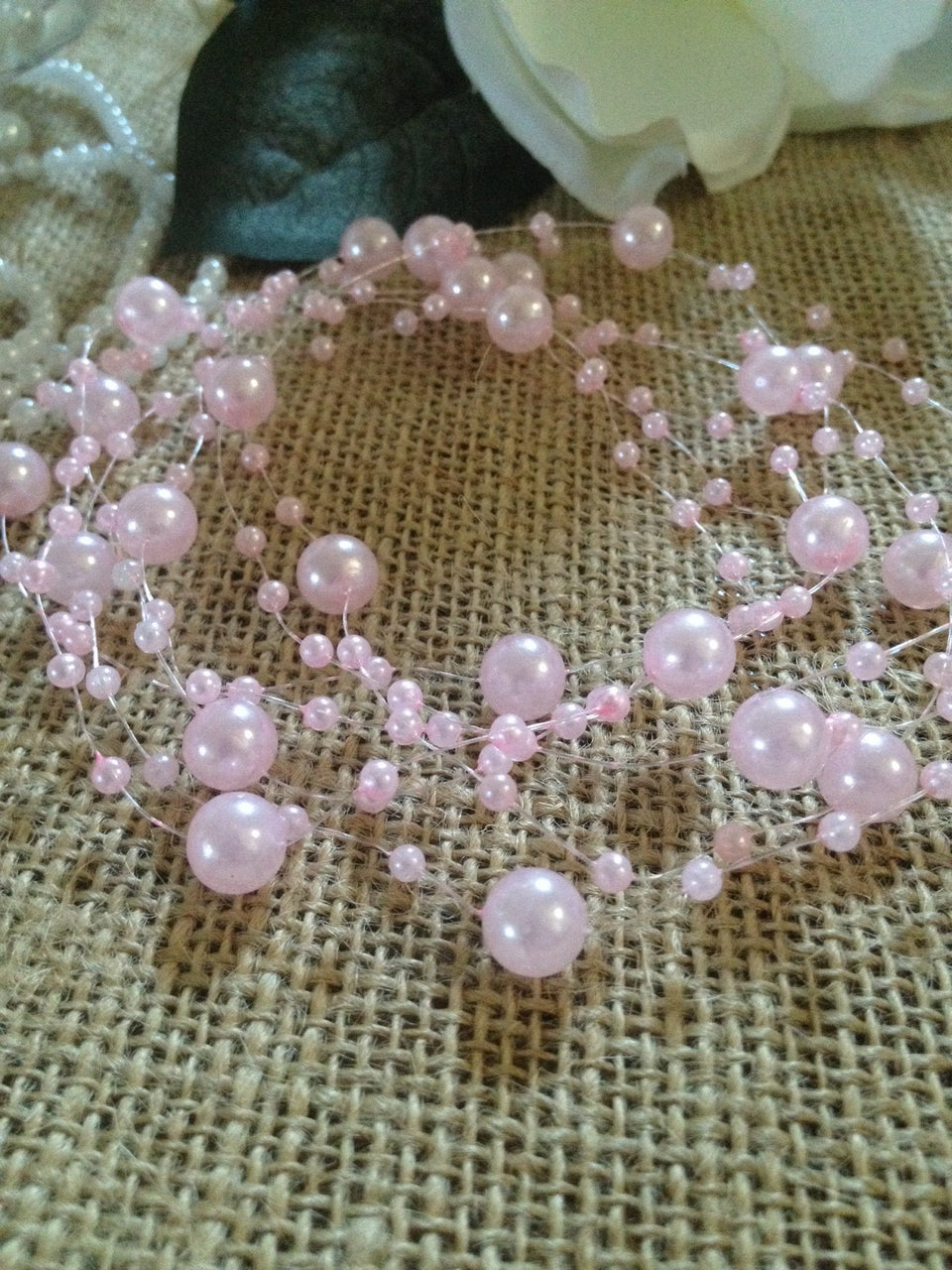 8mm & 3mm Light Pink Pearl Bead Garland -Wedding Decoration, Special Events, Trims  Available in: 1yd/3yd/5yd/10yd/1roll