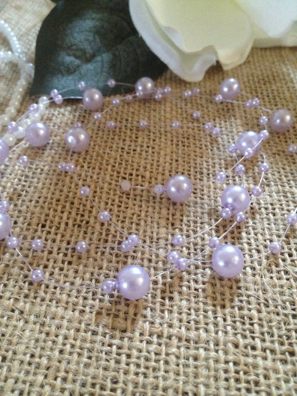 8mm & 3mm Light Purple Pearl Beads Garland -Wedding Decoration, Special Events, Trims Available in: 1yd/3yd/5yd/10yd/1roll