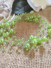 8mm & 3mm Lime Green Pearl Bead Garland -Wedding Decoration, Special Events, Trims Available in: 1yd/3yd/5yd/10yd/1roll