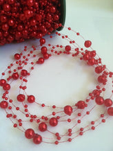 8mm & 3mm Red Pearl Beads Garland -Wedding Decoration, Special Events, Trims Available in: 1yd/3yd/5yd/10yd/1roll