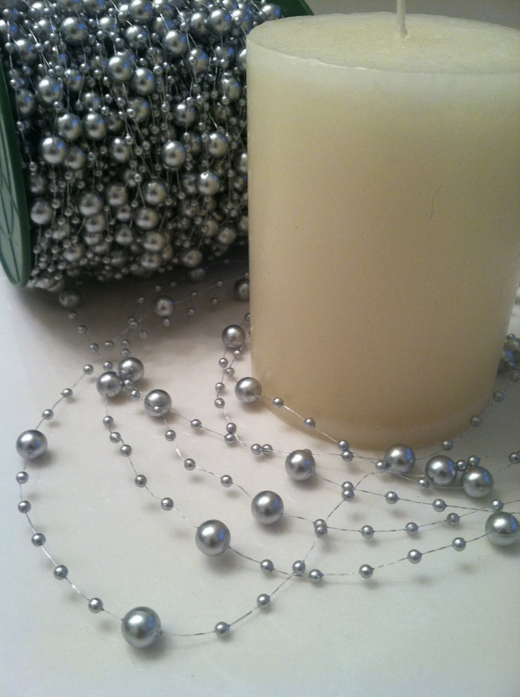 8mm & 3mm Silver Pearl Beads Garland -Wedding Decoration, Special Events, Trims Available in: 1yd/3yd/5yd/10yd/1roll