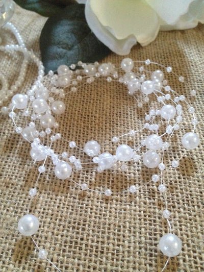8mm & 3mm White Pearl Beads Garland -Wedding Decoration, Special Events, Trims Available in: 1yd/3yd/5yd/10yd/1roll