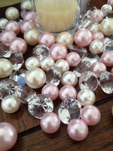 Vase Filler Diamonds and Pearl Gem 90pc Mix ivory/Light Pink Pearls, Table scatters-confetti