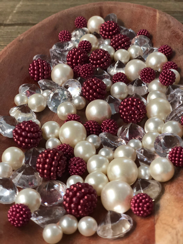 Vase Fillers Burgundy Berry Beads/Pearls/Diamonds Filler, Create beautiful table desert decor perfect for mason jars, wine glass fillers