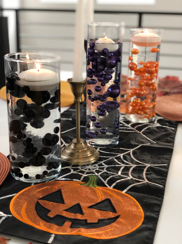 Halloween Decors Orange Floating Pearls Centerpiece, No Hole Vase Filler Pearls