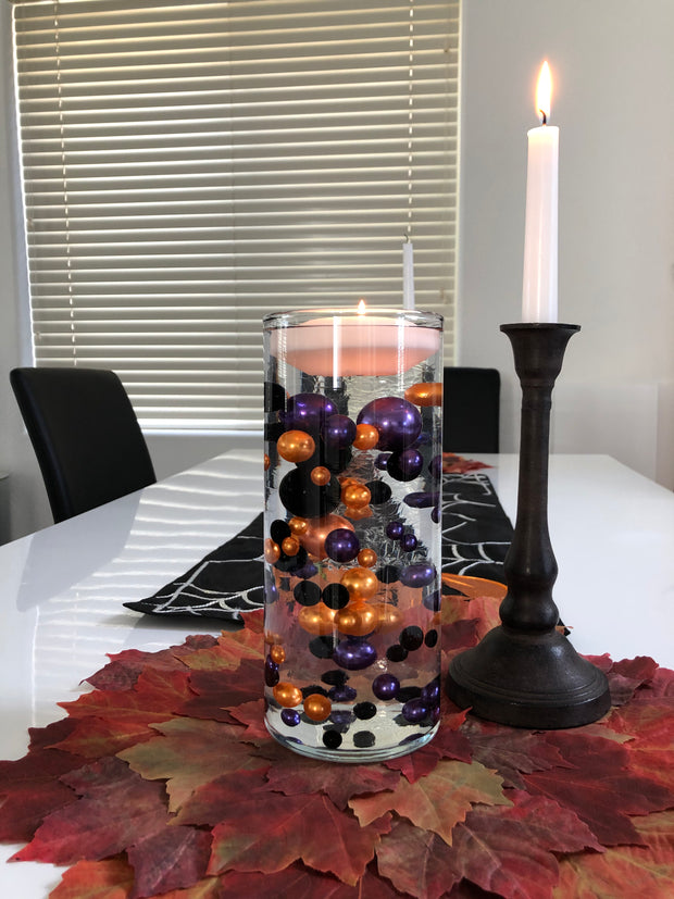 Halloween Decors Floating Pearls Centerpiece Orange Black Purple