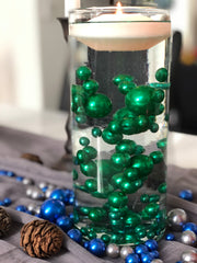 Christmas Table Decors Green Floating Pearls Centerpiece, Holiday Vase Fillers