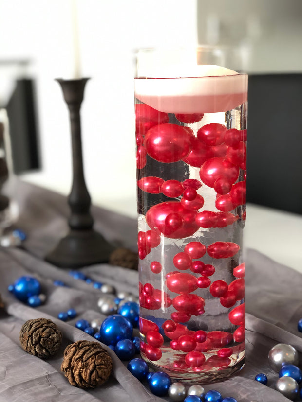 Christmas Table Decors Red Floating Pearls Centerpiece, Holiday Vase Fillers