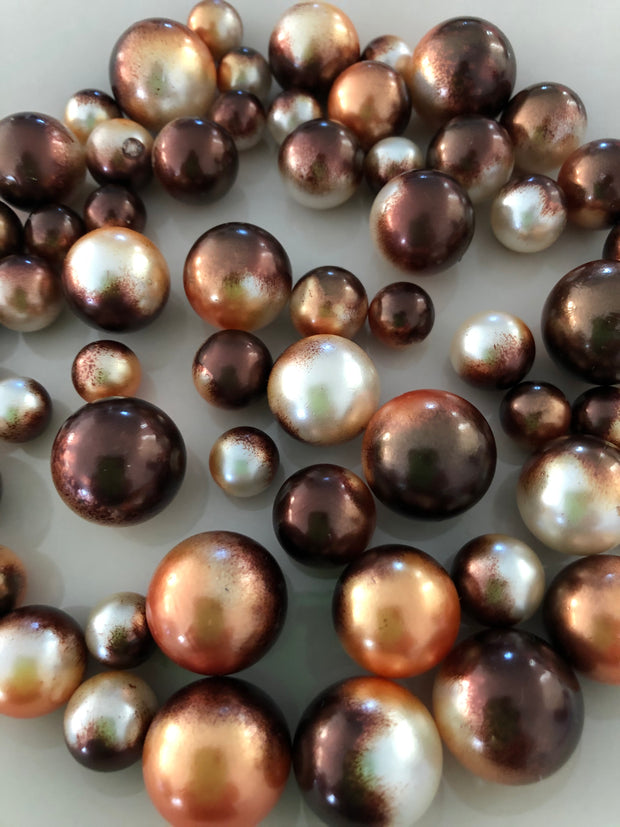 Orange Brown Vase Filler Pearls For Floating Pearl Centerpiece Decor, No Hole Pearl