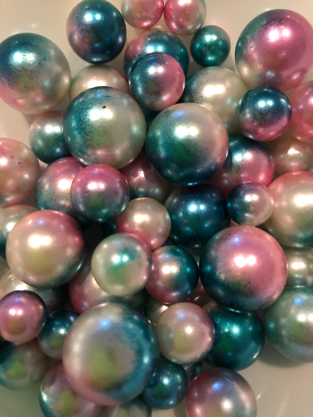 Pink Blue Vase Filler Pearls For Floating Pearl Centerpiece Decor, No Hole Pearl