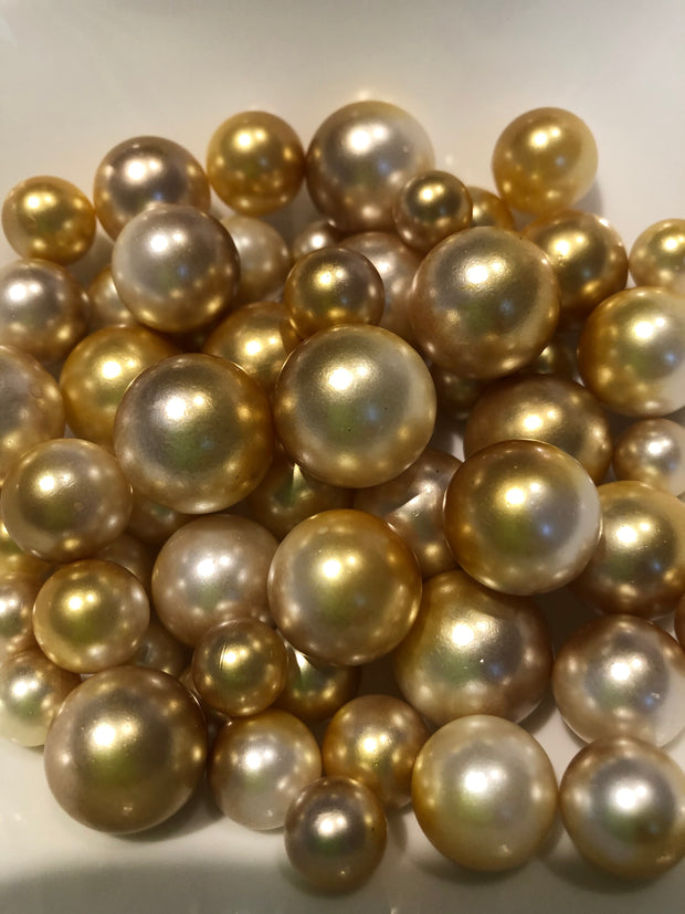 Champagne Gold Vase Filler Pearls For Floating Pearl Centerpiece Decor, No Hole Pearl