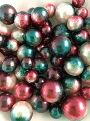 Green Red Vase Filler Pearls For Floating Pearl Centerpiece Decor, No Hole Pearl