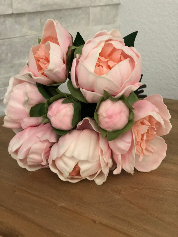Pink Peony Real Touch Flower Bouquet/Centerpiece 6 Head