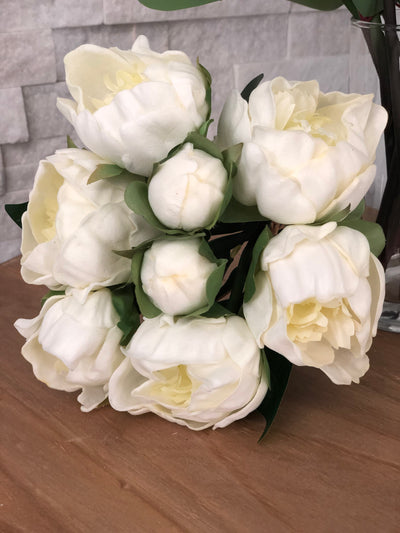 Off White Peony Real Touch Flower Bouquet/Centerpiece 6 Head